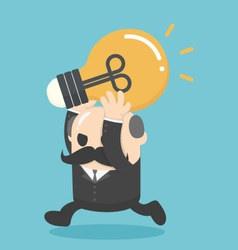 Businessman holding a lamp of knowledgeBig Boss vector image vector image