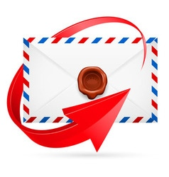Envelope with stamp and arrow around vector image