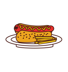 fast food hot dog sausage french fries and mustard vector image vector image