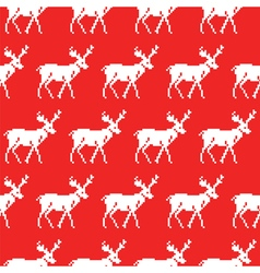 Knitted sweater with deer seamless pattern vector image