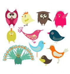 set of abstract birds vector image vector image