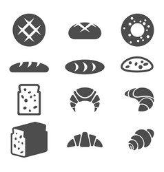 set of grey icons of bakery products isolated vector image vector image
