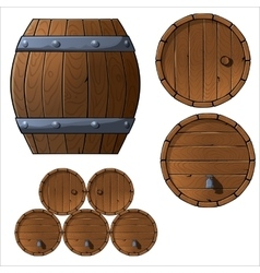 Set of wooden barrels and boxes vector image vector image