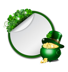 st patricks day banner with clover leaves vector image vector image