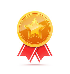 3d gold medal with star and red ribbon vector image