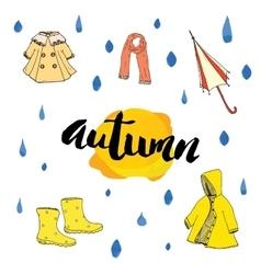 Autumn season set Hand drawn doodles and vector image vector image