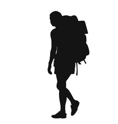 backpacker silhouette vector image vector image