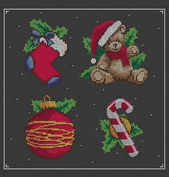 Christmas embroidery set vector image
