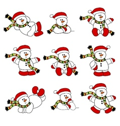 cute christmas snowman set vector image