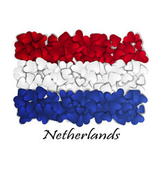 flag love netherlands flag heart glossy with vector image