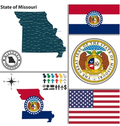Map of Missouri with seal vector image