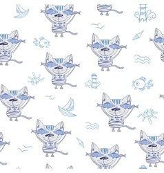 Sea Cat Pattern vector image vector image