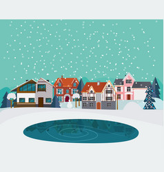 winter countryside landscape flat template vector image vector image