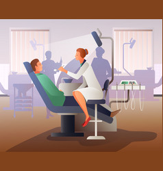 appointment at dentist flat composition vector image