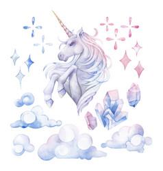 Cute watercolor unicorn vector