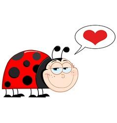 Happy Smiling Ladybug In Love vector image vector image
