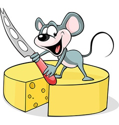 mouse holding a cheese knife - isolated on vector image vector image