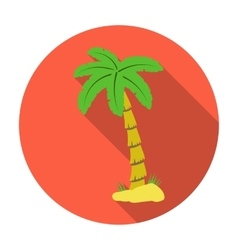 Palm tree icon in flat style isolated on white vector image