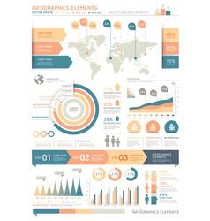 Retro color Infographics elements vector image