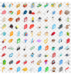 100 music icons set isometric 3d style vector