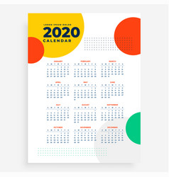 2020 vertical new year calendar design in modern vector image