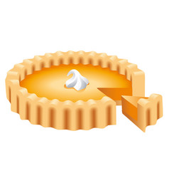 a pumpkin pie whole and slice vector image