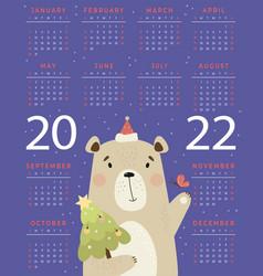 Annual calendar for 2022 with cute bear santa vector