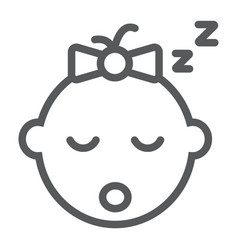 baby girl sleep line icon child and face vector image