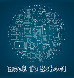 back to school circle to doodles whiteboard vector image