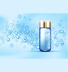 Blue bubbles bottle on silk background vector