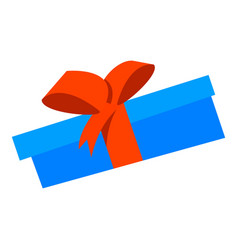 blue gift box icon flat style vector image
