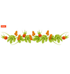 Border of leaves and berry of rosehip plant vector