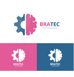 Brain and gear logo combination education vector