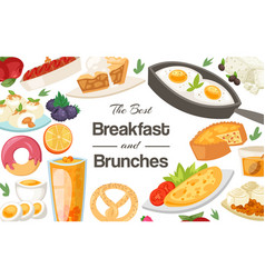 Breakfast and brunches concept banner vector