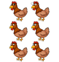 brown chicken with different emotions vector image