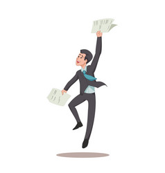 businessman or manager is jumping for joy with vector image