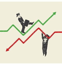 businessman up and down vector image vector image