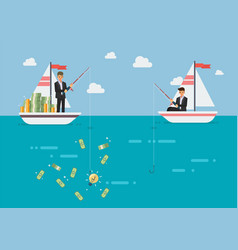 Businessman with idea fishing more money than his vector
