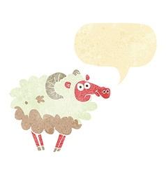 Cartoon dirty sheep with speech bubble vector