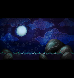 Cartoon style night seascape with full moon and vector
