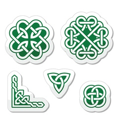 Celtic green knots patterns vector