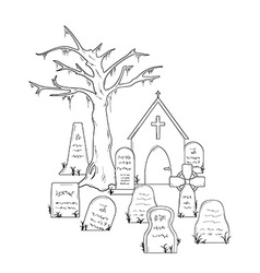 Cemetery with graves vector