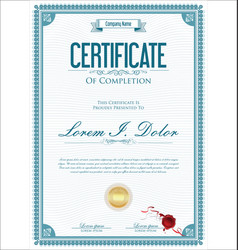 Certificate or diploma retro vintage template 02 vector