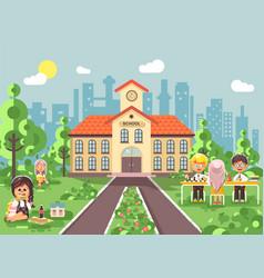 children characters schoolboy vector image