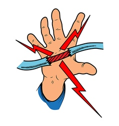 Childs hand grabs the exposed electrical wire vector image