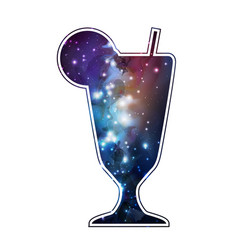 Cocktail silhouette with open space universe vector