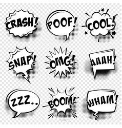 Comic speech bubbles with halftone shadow and text vector