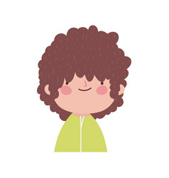 Cute boy with curly hair portrait on white vector