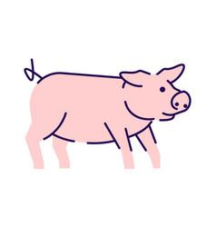 Cute pig side view flat livestock farming vector