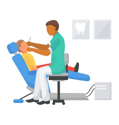 Dentist appointment with child patient vector